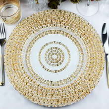 Wholesale New Design Wedding Catering Gold Colored Beaded Glass Charger Plate (B-P011) pictures & photos