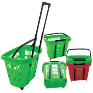 Rolling Plastic Supermarket Shopping Basket with Wheels pictures & photos