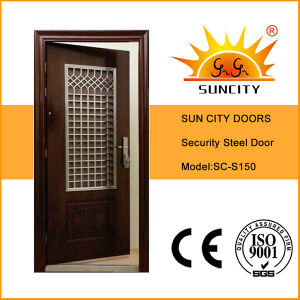 Modern Style Stainless Entrance Steel Iron Door with Window (SC-S150) pictures & photos