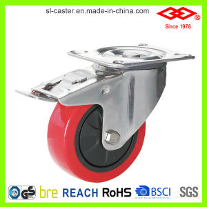 125mm Swivel Locking PU Caster Wheel (P104-26E125X32S) pictures & photos