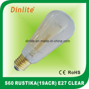 S60-40W 60W Clear Rustika bulb pictures & photos