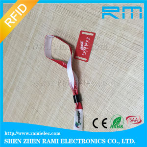 Fabric 13.56MHz Hf Woven RFID Wristband for Club pictures & photos