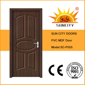 Top Sales Classic Flush Walnut Color MDF PVC Doors (SC-P055) pictures & photos