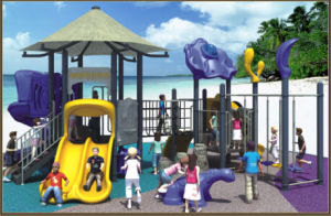 (Featured!) Kaiqi Medium Sized Children′s Playground with Dinosaur and Slides (KQ50043A) pictures & photos