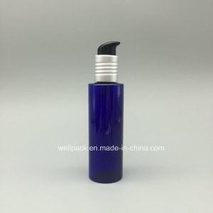 150ml Blue Flat Cosmetic Bottle with Pump pictures & photos