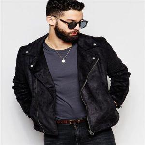 2016 Cool Men′s Faux Suede Biker Jacket in Black pictures & photos