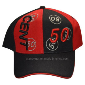 Black-Red Cotton Baseball Peak Cap with Custom Embroidery pictures & photos
