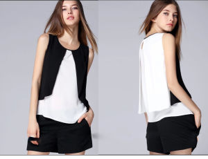 Unique Style Ladies Patchwork Chiffon T-Shirt pictures & photos