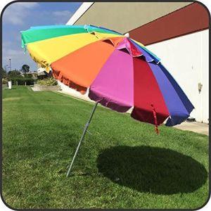Giant 8′ Rainbow Beach Umbrella Heavy Duty Design Includes Sand Anchor & Carry Bag pictures & photos
