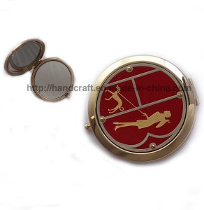 Compact Mirror with Red Enamel and Epoxy Dome