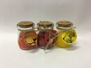 Orange Lemon Strawberry Scent Designed Glass Jar Candle for Holiday Gift. pictures & photos