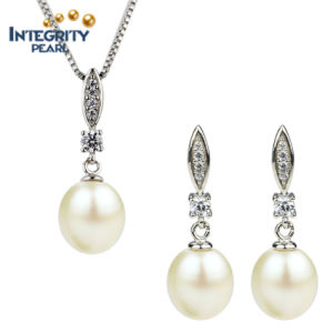 Fresh Water Jewellery Pearl Set AAA Drop 8-9mm Pendant with Pearl Set