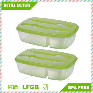 Bento Lunch Box Three Compartment All in One Storage Container Kit Knife Fork pictures & photos