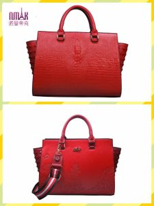 Embroidery Patterns Crocodile Texture Leather Satchel Tote Shoulder Bags (F54) pictures & photos