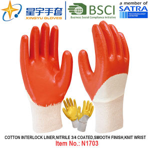 Cotton Interlock Shell Nitrile Coated Safety Work Gloves (N1703) pictures & photos