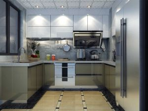 Waterproof Stainless Steel Kitchen Cabinets in Modern Design (BR-SP009) pictures & photos