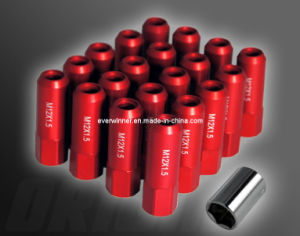 20 X Extended Wheel Rim Racing CNC Lug Nuts 60mm M12 X 1.5mm - Red W/ Socket pictures & photos