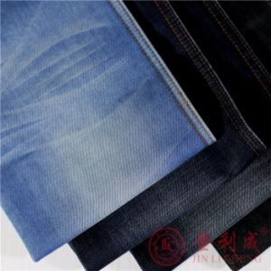 Qm3412 Polyester Cotton Denim Fabric for Readymade Jeans pictures & photos