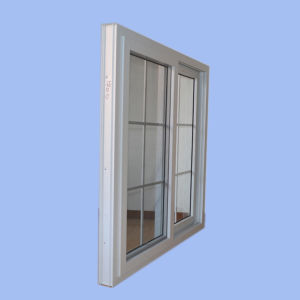 Double Glass with Grid White Colour UPVC Profile Sliding Window K02060 pictures & photos