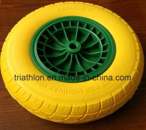 16X4.00-8 Europe Style Wheelbarrow Flat Free PU Foam Tire pictures & photos
