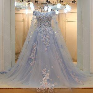 Sexy Full Length V-Neck V-Back Side Slit Flowing Chiffon Royal Blue Evening Dress (WD60) pictures & photos