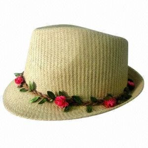 Paper Straw Hat with Garland Hat Band
