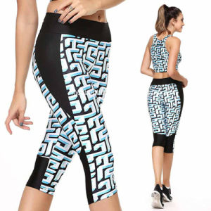 Women Athletic Fitness Elastic Sports 3/4 Pants Trousers Jogging Pattern Printed Leggings pictures & photos