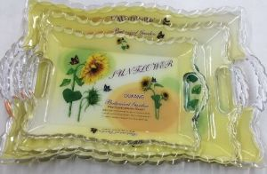 Rectangle Plastic Tray Plastic Serving Tray with Handle pictures & photos