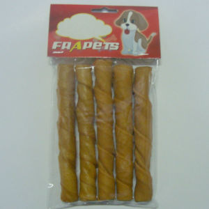 "Dog Food of 5""/18-20mm Smoked Pork Hide Twist Stick for Dog pictures & photos"