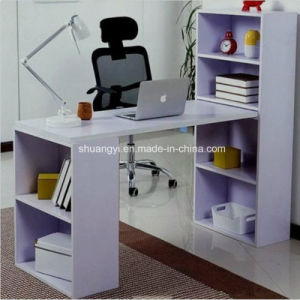 Office Study Computer Table Desk with Double Bookcase Book Shelf pictures & photos
