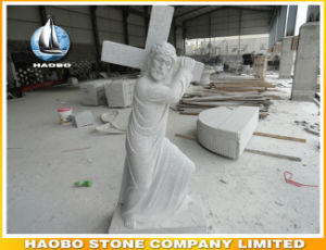Stone Jesus Statue with Cross Hand Carved pictures & photos