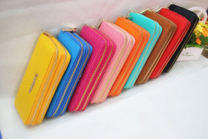 2016 Hot Selling Classical Fashion Lady Double Zipper Wallet, Wallet PU Leather, Wallet