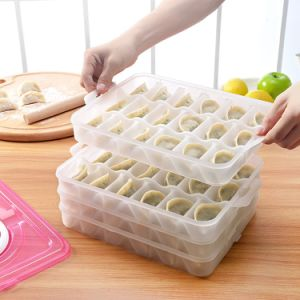 4 Layer Kitchen Dumpling Holder Box Covered Dumpling Dispenser with Handle for Refrigerator 18-Dumpling Capacity pictures & photos