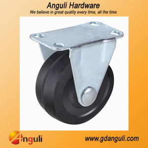 Hot Sale Steel Plated Good Quality Black Rubber Top Plate Fixed Caster Wheel pictures & photos