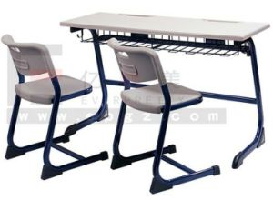 New Arrival Durable College School Classroom Furniture Plastic Double Desk and Chair pictures & photos