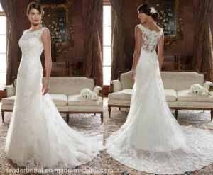 Romantic Jewel A-Line Court White Lace Wedding Gown W1471952 pictures & photos