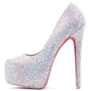 Women Crystal Rhinestone High Heel Party Dress Shoes