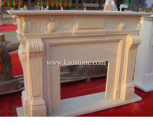 Indoor Fireplaces, Yellow Marble Stone Carved Fireplace for Home Decoration pictures & photos