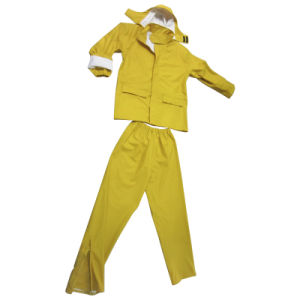 PU Outdoor Waterproof Rainwear Rainwear Jacket Rainsuit Rain Suit (RWC01) pictures & photos