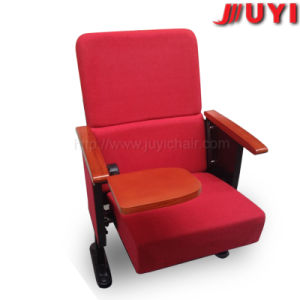 Jy- 302s 6D Numbers Interlocking Fabric Padded Cinema Chair Cheap Wooden Armrest Chair Conference Chair with Writing Tablet pictures & photos
