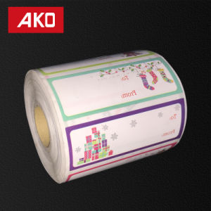 Custom Size High Quality Thermal Transfer Label Christmas Style Self Adhesive Sticker on Roll pictures & photos