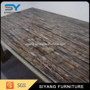 Modern Dining Set Marble Dinner Table with Gold Steel pictures & photos