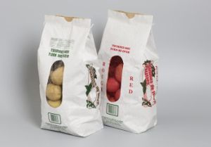 Vegetables Packaging Kraft Paper Bag with Net Window pictures & photos