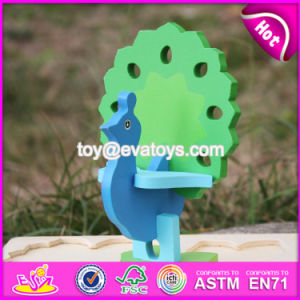 New Product Funny 3D Peacock Children Wooden Puzzle Animals W14G040 pictures & photos