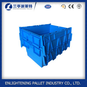 56L Moving Nestable Plastic Tote Box with Attached Lid pictures & photos