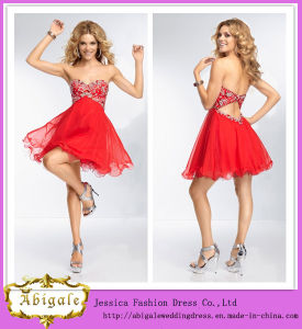 2014 Charming A Line Sweetheart Sleeveless Empire Beaded Mini Red Designer One Piece Party Dress (HS155) pictures & photos