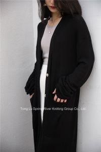 V-Neck Extra Long Sweater Cardigan for Women pictures & photos