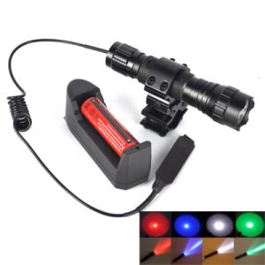 Rechargeable Green/Blue/Red/ Xml T6 LED Multi-Color Hunting LED Flashlight Torch Light Jade Detector Fishing Flash Light with 18650 Battery+Charger+Gun Holder pictures & photos