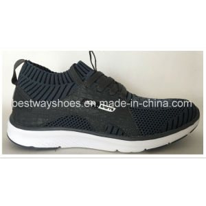 Newest design Flyknit Shoes with PU Leather Upper pictures & photos