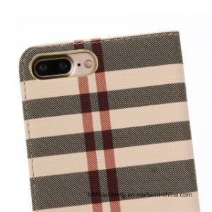 Check Pattern Leather Wallet Cell Phone Case for iPhone pictures & photos